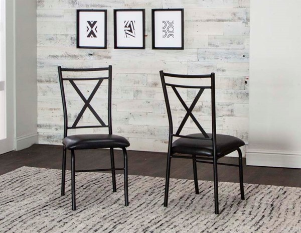 2 Cramco Parx Black Polyurethane Metal X Back Side Chairs CRM-D8539-01