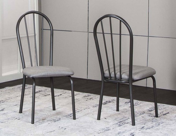 2 Cramco Timber Graphite Dove Tweed Fabric Metal Bowback Side Chairs CRM-D8719-03