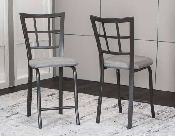 2 Cramco Timber Graphite Dove Tweed Fabric Metal 24 Inch Stools CRM-D8719-24