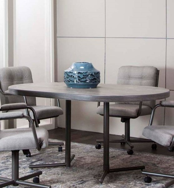 Cramco Timber Vintage Laminate Wood Graphite Metal Oval Dining Table CRM-D8719-71-74