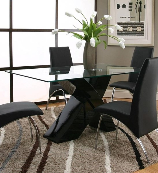Cramco Mensa Black Polyester Glass Dining Tables CRM-F5457-DT-VAR