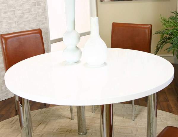 Cramco Napoli White Polyester Chrome 45 Inch Round Dining Table CRM-F5476-39-47