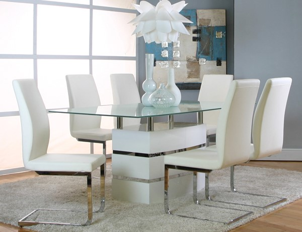 Altair Heka White Wood Fabric Glass 7pc Dining Room Set CRM-G5001-WH-735