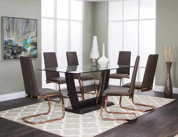 Bentley Dark Oak Wood Taupe PU 7pc Dining Room Set CRM-G5009-745