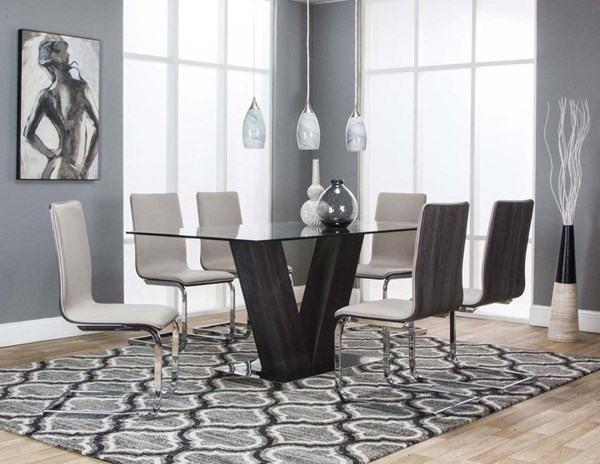 Cramco Axel Holden Charcoal Wood Champagne 7pc Dining Room Set CRM-G5024-745