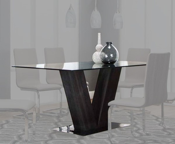 Cramco Axel Charcoal Wood Clear Glass Rectangular Dining Table CRM-G5024-DT