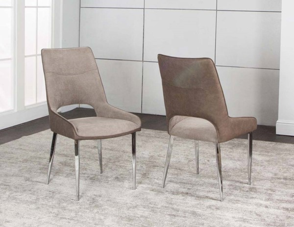2 Cramco Century Stone Fabric Chrome Side Chairs CRM-G5081-01