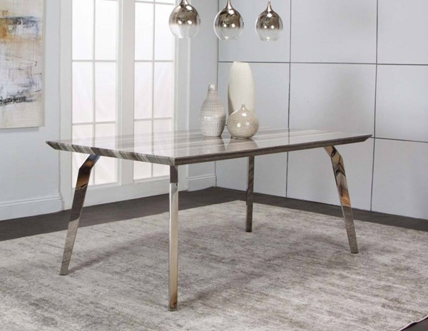 Cramco Century Faux Marble Stainless Steel Rectangular Dining Table The Classy Home