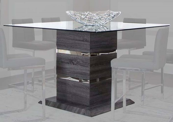 Cramco Gamma Charcoal Wood Chrome Glass Square Counter Height Table CRM-G5182-43-46-49