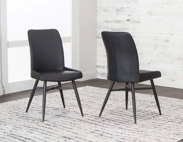 4 Cramco Lemans Black Polyurethane Metal Side Chairs CRM-G5418-03