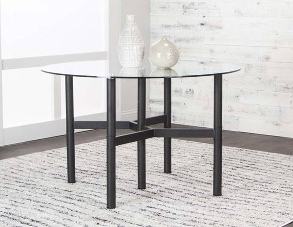 Cramco Lemans Black Metal 48 Inch 10mm Tempered Glass Top Dining Table CRM-G5418-41-47