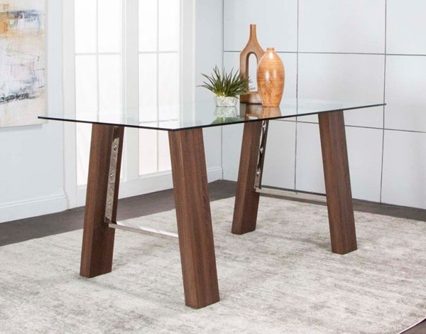 Cramco Leone Clear Glass Stainless Steel Wood Rectangular Dining Table CRM-G5421-41-45-47