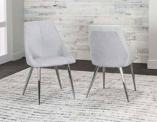 2 Cramco Idina Light Gray Fabric PU Side Chairs CRM-G5426-01
