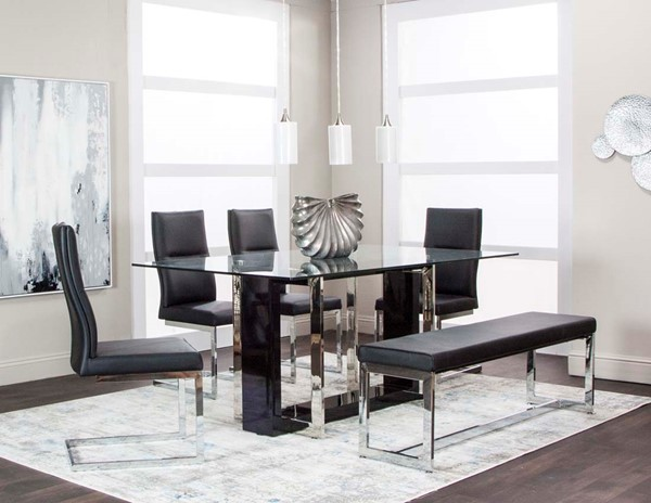Cramco Olympia Black 6pc Dining Room Set With Banch CRM-G5515-667