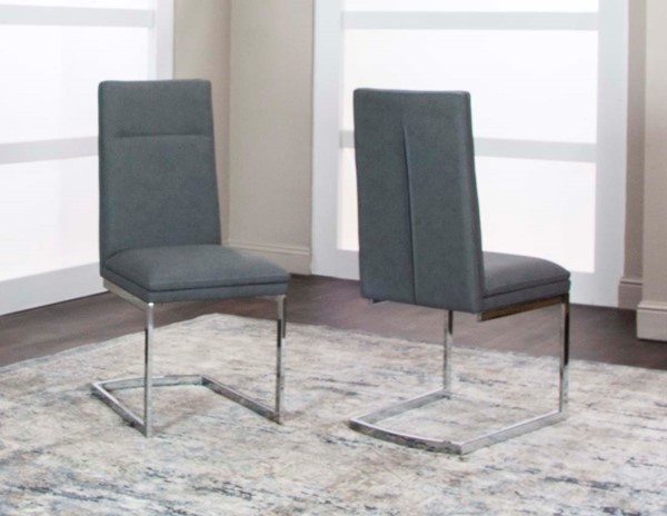 Cramco Reliant Charcoal Polyurethane Chrome Side Chairs CRM-G5600-DCH-VAR