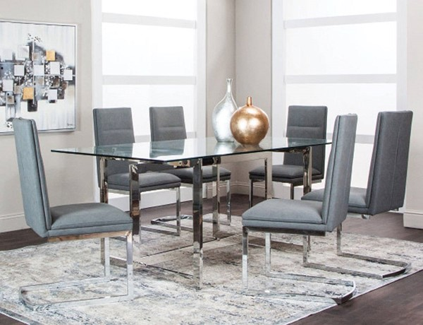 Cramco Reliant Charcoal Polyurethane 7pc Dining Room Set CRM-G5600-41-DR-S1