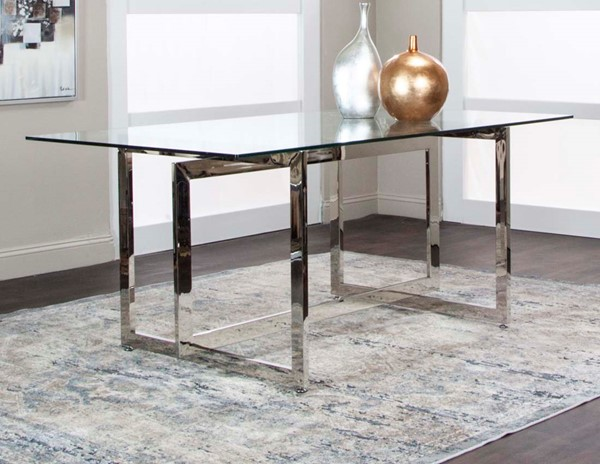 Cramco Reliant Clear Glass Stainless Steel Rectangular Dining Table CRM-G5600-41-47