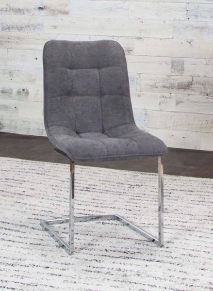 2 Cramco Rafina Graphite Fabric Chrome Side Chairs CRM-G5602-01