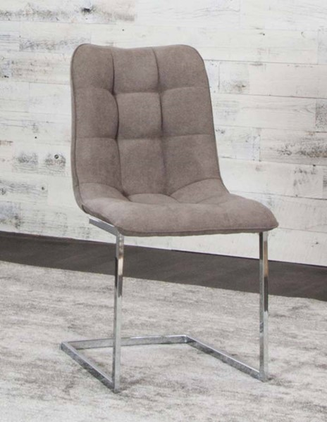 2 Cramco Rafina Stone Fabric Chrome Side Chairs CRM-G5602-03