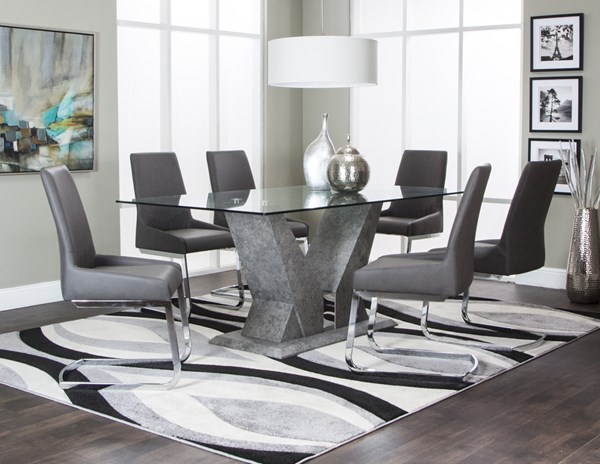 Vortex Pewter Stone Glass Charcoal Pu 7pc Dining Room Set