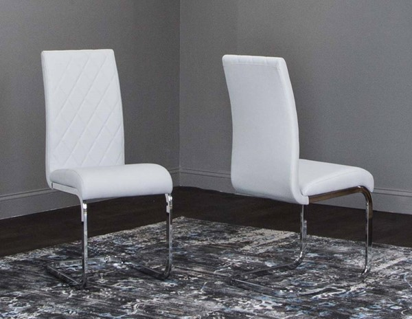 2 Cramco Veneto Light Gray Polyurethane Chrome Breuer Side Chairs CRM-G5776-14