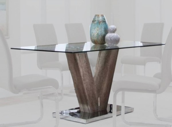Cramco Veneto Faux Cement Glass Stainless Steel Rectangular Dining Table CRM-G5776-41-44-47