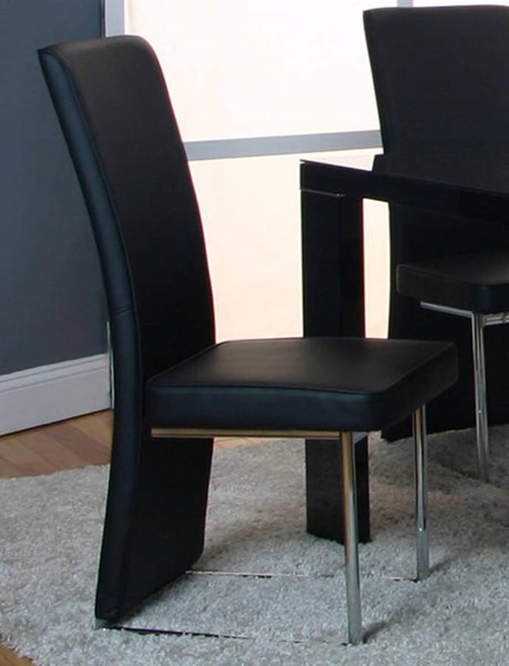 2 Venice Black Polyester Chrome Side Chairs CRM-G5777-12