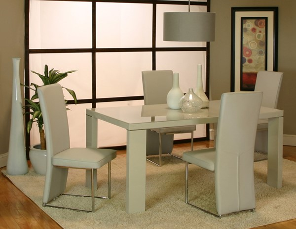 Venice Light Gray PU Glass Chrome 6pc Dining Room Set CRM-G5777-DR-S1