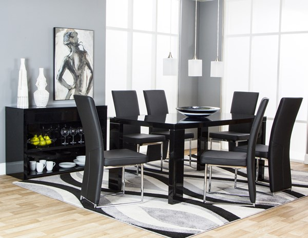Venice Black Pu Glass Chrome 6pc Dining Room Set The