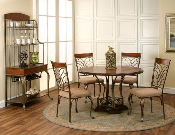 Harlow Golden Bronze Ash Wood Camel Microsuede 6pc Dining Room Set CRM-J9186-DR-S1
