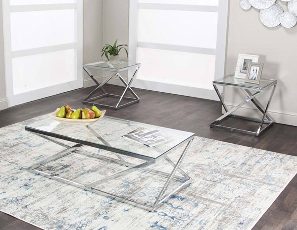 Cramco Boxer Clear Glass Chrome 3pc Occasional Table Set CRM-K2052-90
