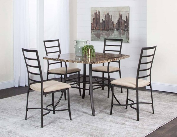 Cramco Honey Camel Microsuede Chocolate Faux Marble 5pc Dining Room Set CRM-K2235-65