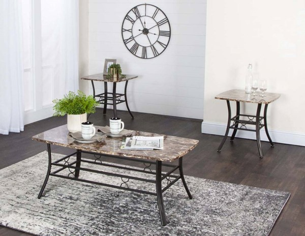 Cramco Honey Chocolate Faux Marble Espresso Metal 3pc Occasional Table Set CRM-K2235-90