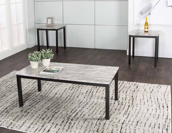 Cramco Julie Gray Faux Marble Black Wood 3pc Occasional Table Set CRM-K2289-90