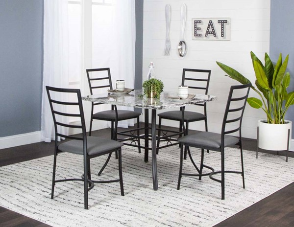 Cramco Stu Charcoal Polyurethane Gray Faux Marble 5pc Dining Room Set CRM-K2632-65