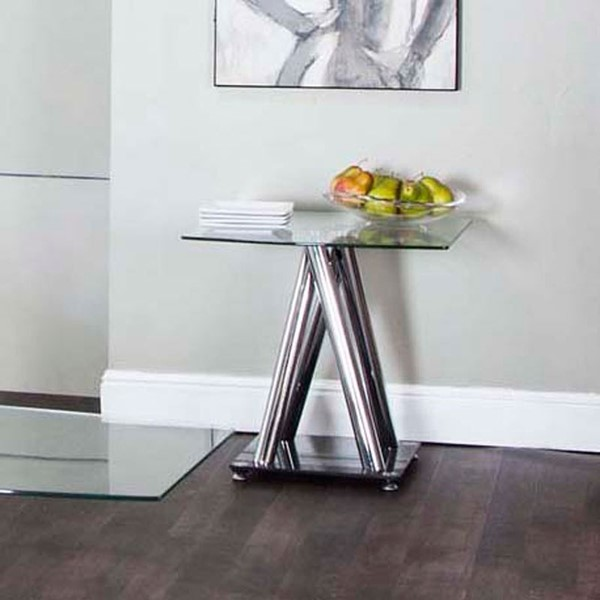 2 Cramco Valiant Clear Glass Chrome Square End Tables CRM-K2772-98