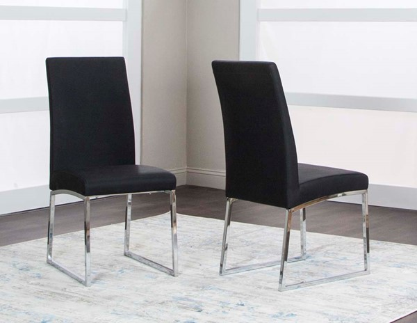 2 Cramco Classic Black Polyurethane Stainless Steel Side Chairs CRM-ND069-01