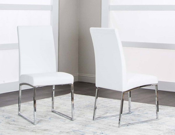 2 Cramco Classic White Polyurethane Stainless Steel Side Chairs CRM-ND069-03