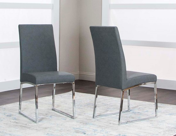 2 Cramco Classic Charcoal Polyurethane Stainless Steel Side Chairs CRM-ND069-09