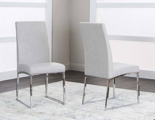 2 Cramco Classic Light Gray Polyester Tweed Stainless Steel Side Chairs CRM-ND069-12