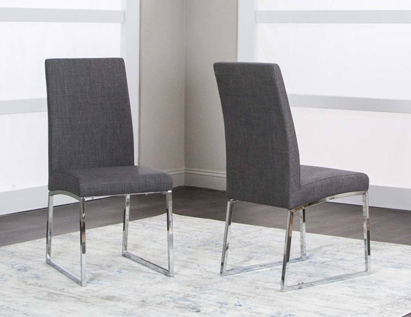 2 Cramco Classic Dark Gray Polyester Tweed Stainless Steel Side Chairs CRM-ND069-14