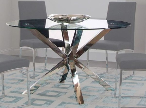 Cramco Classic Clear Glass Stainless Steel 54 Inch Round Dining Table CRM-ND069-41-47