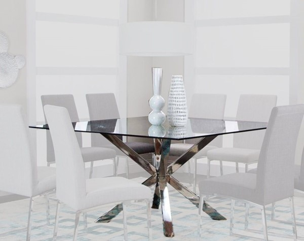 Cramco Classic Clear Glass Stainless Steel Square Dining Table CRM-ND069-44-47