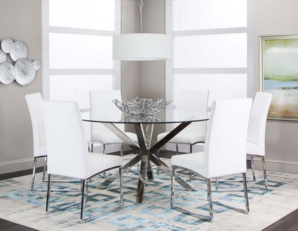 Cramco Classic White Polyurethane 7pc Dining Room Set CRM-ND069-DR-S1