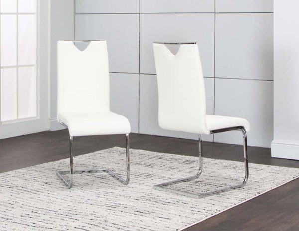 2 Cramco Dana White Polyurethane Chrome Side Chairs CRM-ND103-03