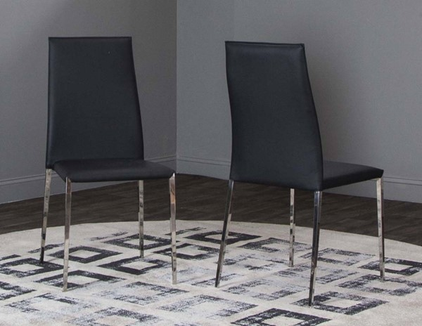 Cramco Halo Black Polyurethane Chrome Stack Chairs CRM-ND205-DCH-VAR