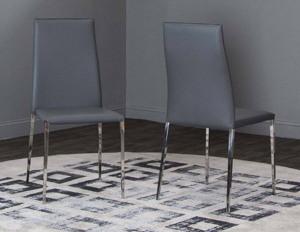 4 Cramco Halo Charcoal Polyurethane Chrome Stack Chairs CRM-ND205-03