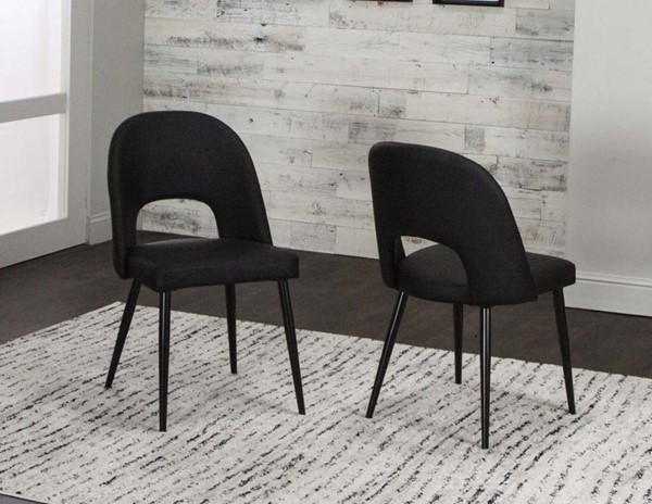 2 Cramco Pluto Black Polyurethane Metal Side Chairs CRM-ND545-01