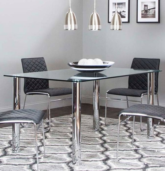 Cramco Napoli Clear Glass Chrome Rectangular Dining Table CRM-F5476-43-47