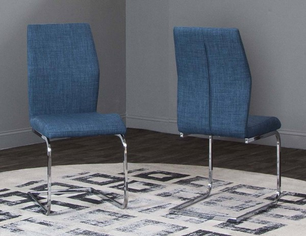 2 Cramco Rocket Blue Tweed Fabric Steel Side Chairs CRM-ND612-01